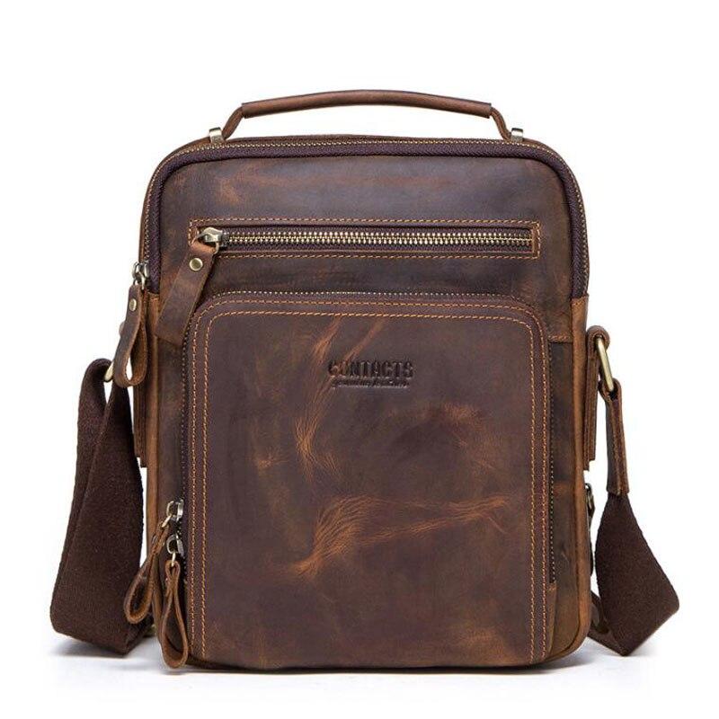 High quality brand crazy horse leather mens shoulder bag vintage  messenger bags men bolsos male crossbody bags mans handbagCrossbody  Bags