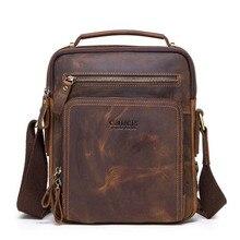 Yüksek kaliteli marka çılgın at deri erkek omuzdan askili çanta vintage postacı çantası erkekler bolsos erkek crossbody çanta erkek çanta