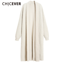 CHICEVER Oversized Sweater For Women V Neck Long Sleeve Loose Knitting Cardigans Thick Casual Sweaters Female 2020 Fall Clothing