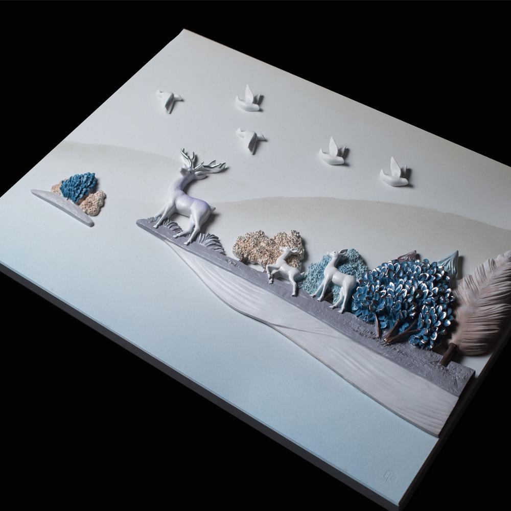 Moderne Reliëf 3D Hars Vogel Herten Landschap Muursticker Muurschildering Decoratie Ambachten Thuis Kamer Muur TV Achtergrond Schilderij Ornament - 5