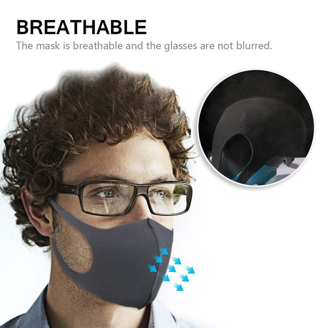3 Layers Anti-Dust Mask Washable Mouth Mask Kids Adult Face Mask Outdoor Mouth Mask Facial Respirator flu-proof Black Mask 3