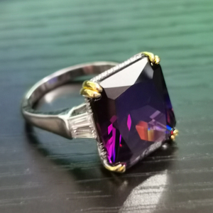 Image 5 - PANSYSEN takılar 14x16mm ametist taş yüzük kadın erkek hakiki 925 ayar gümüş nişan parmak yüzük güzel takı