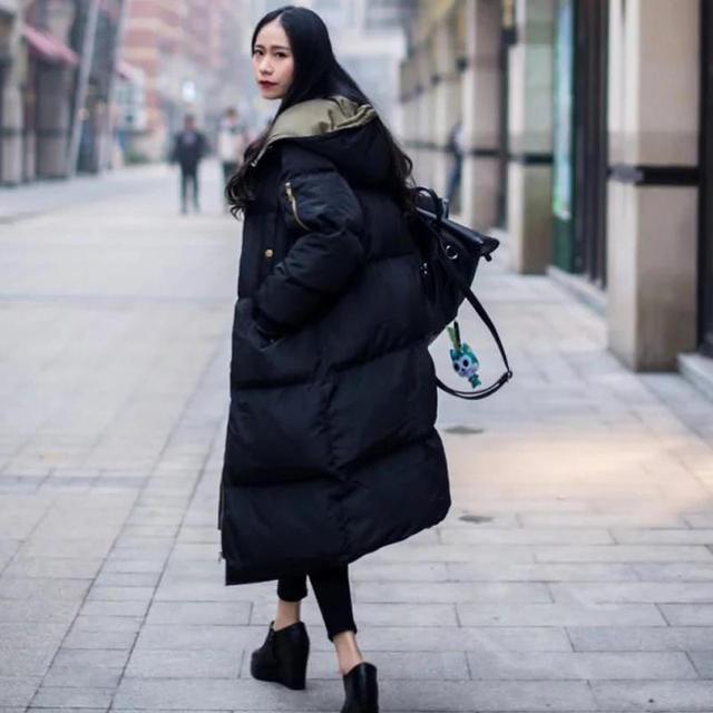 Automne hiver veste femmes Parka chaud épais Long duvet coton manteau femme lâche Oversize à capuche femmes hiver manteau survêtement Q1933 3