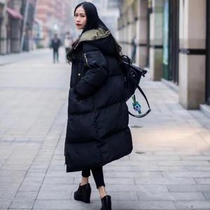 Image 3 - Jaqueta feminina de parka, casaco quente, grosso e longo de algodão, para outono e inverno, com capuz, de tamanho grande, q1933