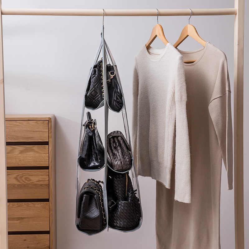 6 כיס תליית תיק ארגונית לארון מלתחה שקוף אחסון תיק דלת קיר משונה ברור נעל תיק עם כיס קולב