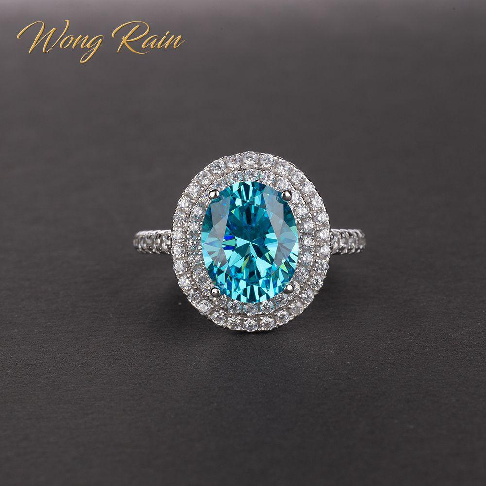 Wong Rain Luxury 100% 925 Sterling Silver Created Moissanite Gemstone Birthstone Wedding Engagement Ring Fine Jewelry Wholesale