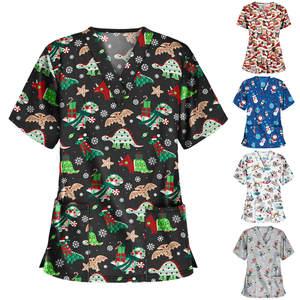 Uniforms Blouse Tops Workwear Short-Sleeve V-Neck Christmas-Print Women -T1g Pet Thanksgiving