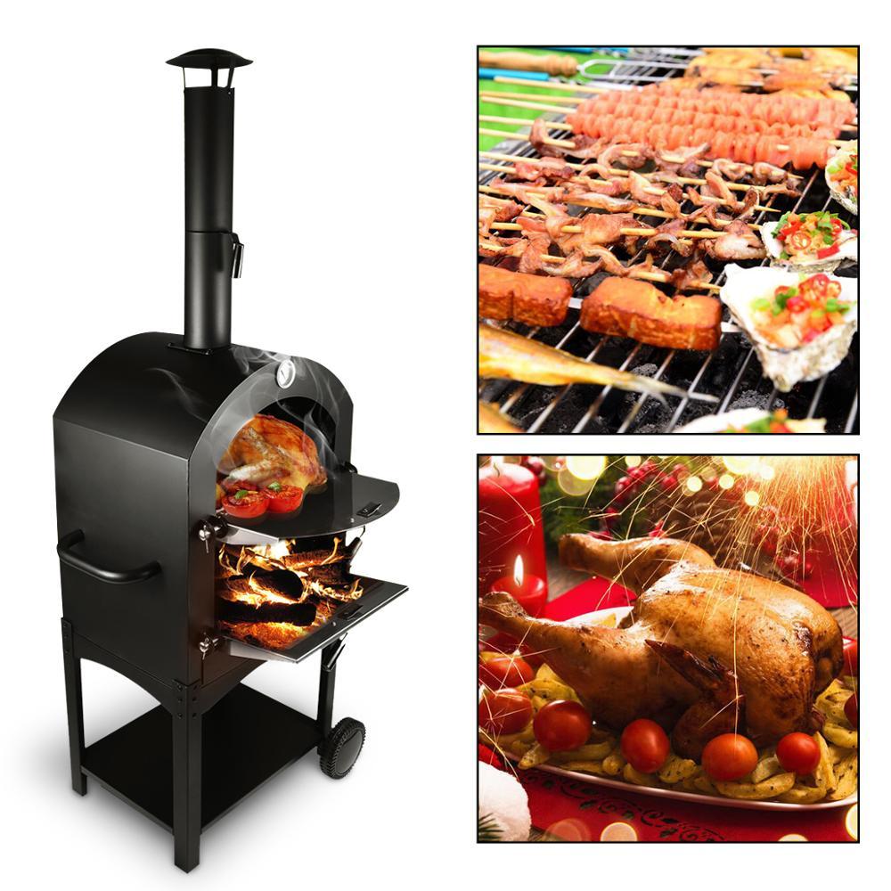 Forno de pizza de aço inoxidável ao ar livre usado madeira ateada fogo delicioso fabricante pizza fogão - 1
