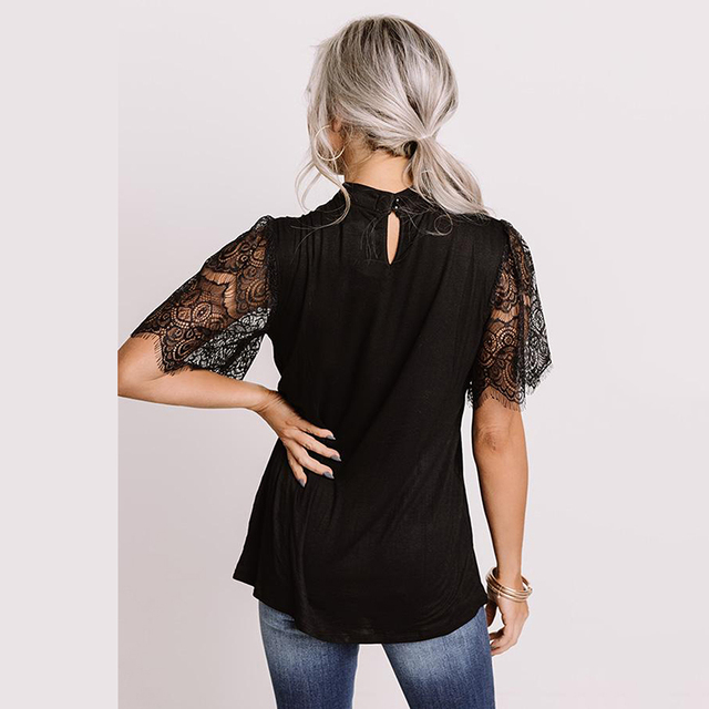 LIVA GIRL Casual Black Breaking News Lace Top Woman 2021 Summer Solid Short Sleeve Tops Female Sexy Hollow Out O-neck Clothes 5