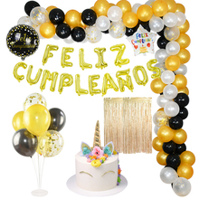16inch Feliz Cumpleanos Foil Balloons Rose Gold Silver Happy Birthday Theme Party Decoration Kids Adult Balloon Banner