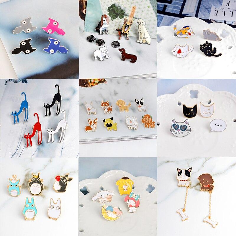 Miss Zoe-Conjunto de 2 a 8 unidades, broche de gato, perro, hipopótamo, cachorro, Totoro, alfileres de botón, insignia de tela vaquera, Pin para chaqueta, regalo de joyería Animal para niños