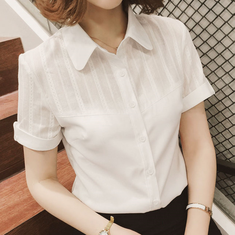 Women Shirts Women Blouses Korean Woman Short Sleeve Hollow Out Shirt Top Office Lady Lace Patchwark White Shirts Tops Plus Size