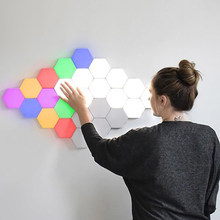 Modern LED Wall Lamp kids lamp Honeycomb Modular Assembly Helios Touch Wall Lamps Quantum children Lamp Magnetic art Wall Light(China)