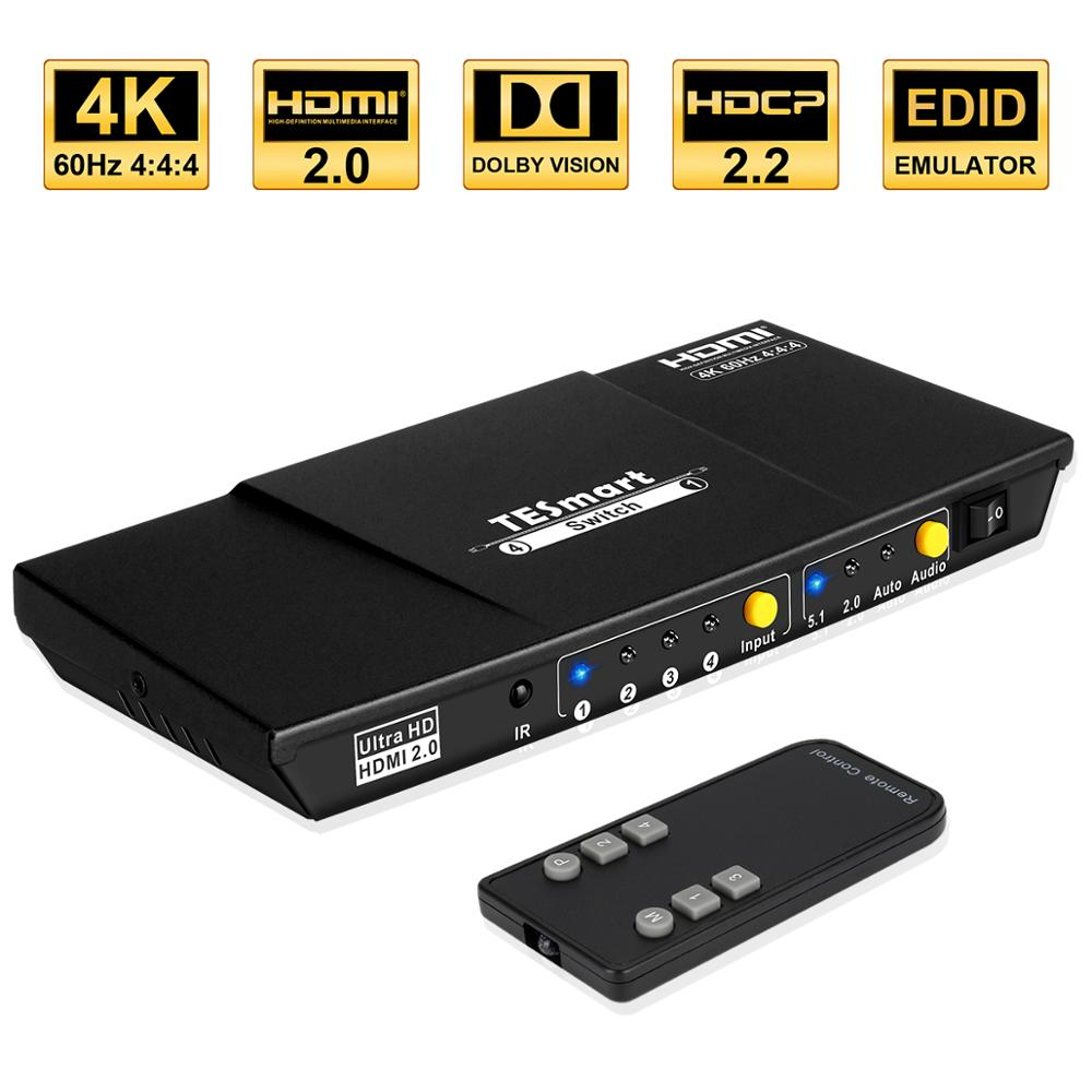TESmart 4K HDMI Switch 1x4 Port 4 In 1 Out HDMI Switcher HDCP 2.2 High Quality Ultra HD With IR Remote HDR 10  S/PDIF L/R Audio