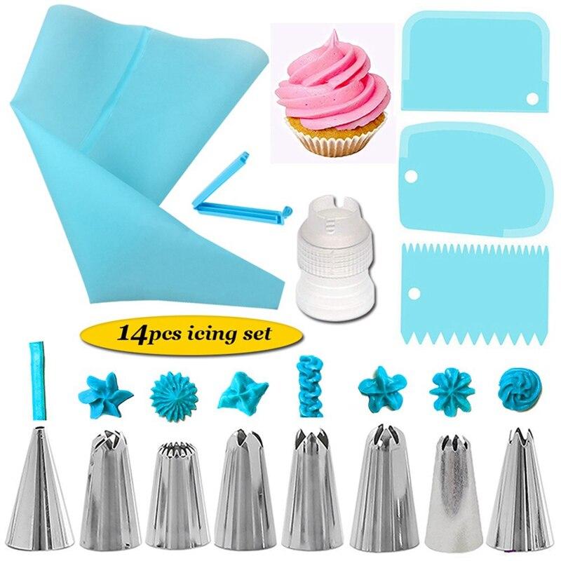 14 יח'\סט לשימוש חוזר סיליקון מאפה תיק ציפוי צנרת חרירי סט עוגת קישוט כלים מגרד קרם טיפים ממיר אפיית כוס