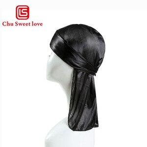 Image 1 - Çocuk şapkalar ipek uzun kuyruk korsan başörtüsü hip hop kap Bandana türban şapkalar erkek hip hop pelerin şapka saç aksesuarları