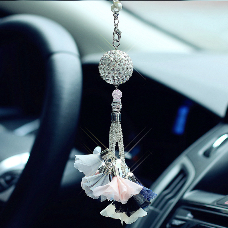 Car Rear View Mirror Tassel Pendant Diamond Crystal Flower Ball Car Interior Accessories Hanging Ornament Girl Gifts Styling