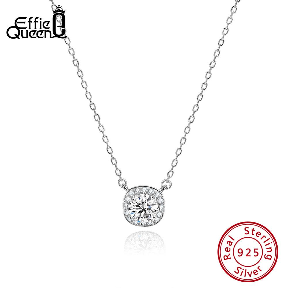 Effie Queen 925 Sterling Silver Necklaces For Women Square Zircon Pendants Elegant Female Original Jewelry Accessories TSN135