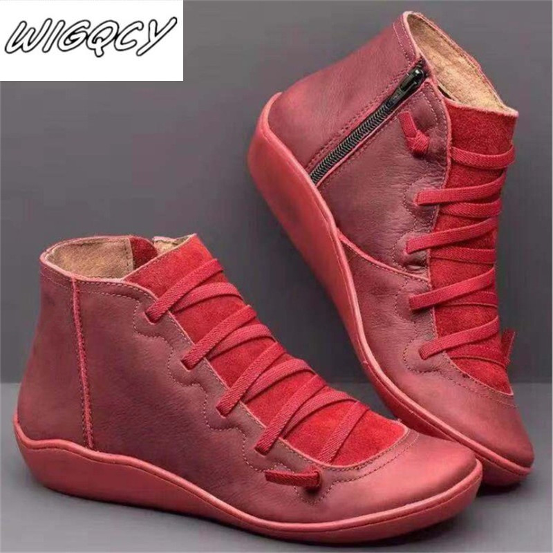 Women's PU Leather Ankle Boots Women Autumn Winter Cross Strappy Vintage Women Punk Boots Flat Ladies Shoes Woman Botas Mujer 41
