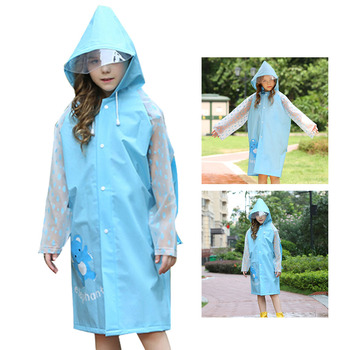 Waterproof raincoat for kids hooded raincoats rain poncho jacket coat for kids raincoats for girls boys with backpack pockets