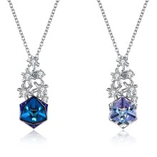 Christmas Necklace Santas Snowflake Pendant Gift Royal Blue Geometric Square Fashion Crystal 2018 Explosion 925 necklace