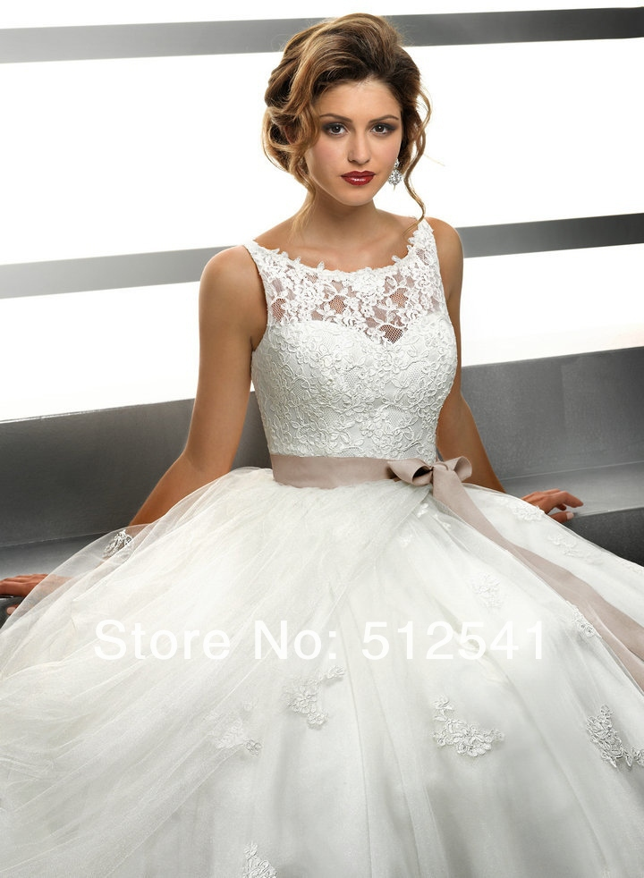 >vestido de noiva Bateau Organza A-Line Wedding Dresses 2018 Applique With sash Lace <font><b>Sweep</b></font> <font><b>Train</b></font> <font><b>Sleeveless</b></font> robe de mariee