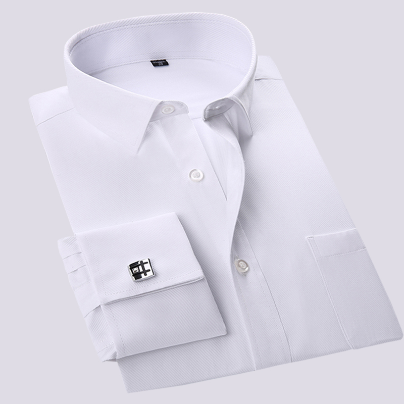 High Quality France Cufflinks Long Sleeve Sleeve Business Men Formal Social  Shirts Comfortable Easy Care(cufflinks Included)