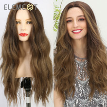 Element Synthetic Long Natural Wave Hair Ombre Brown to Blonde Wigs for White/Black Women Party  or Daily Wear