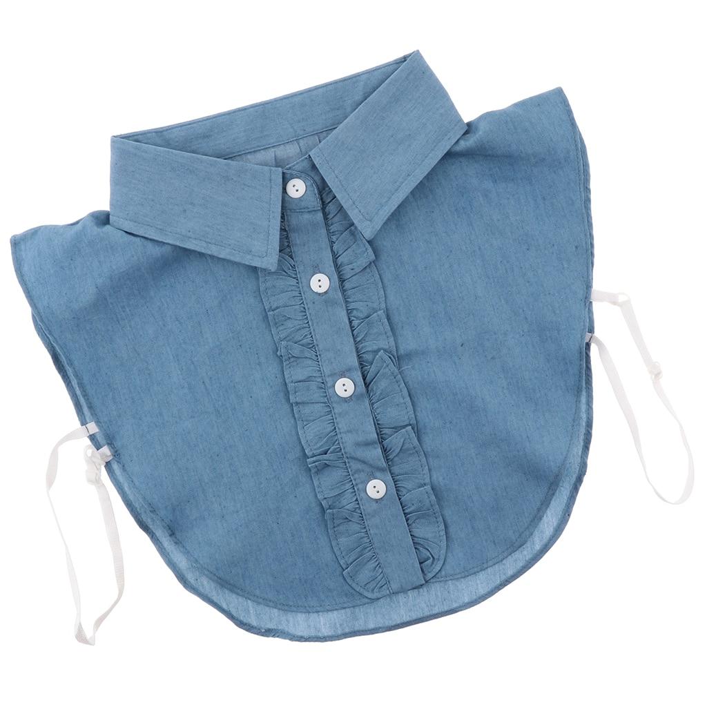 Blouse False Collar - Clothes Shirt Detachable Collar - Retro Denim Blue Collar, Match All Your Collarless Costume