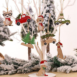 New Year Natural Wood Christmas Tree Ornament Creative Animal Christmas Party Pendant Car Decorations Pendant for Home 2019 1