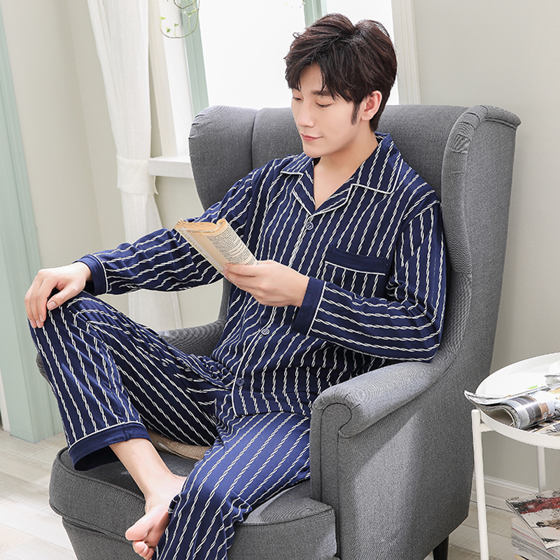 Pajamas Home-Service-Suit Winter Cotton Men's Casual And Autumn Striped Fashion