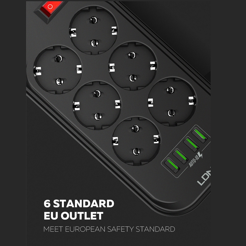 cheapest LDNIO EU Plug 3 4A 4 USB Electrical Socket Smart Extension Power Strip Charger Adapter 6 Outlet Surge Protection Switch Home