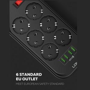 Image 3 - LDNIO ue Plug 3.4A 4 USB prise électrique Extension intelligente multiprise chargeur adaptateur 6 prise Protection contre les surtensions interrupteur maison