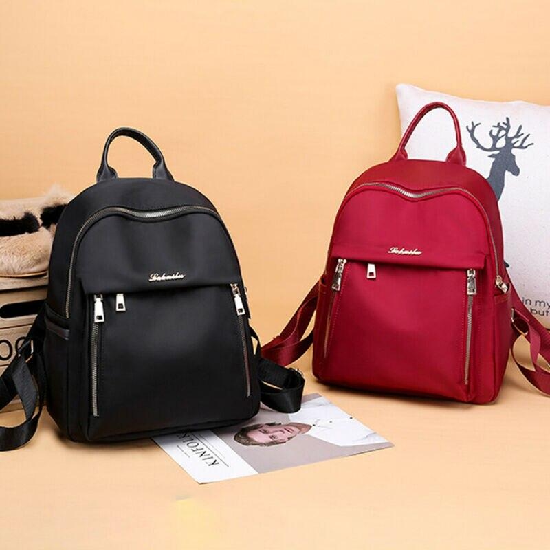 Women Waterproof Oxford Cloth Travel Backpack Nylon Anti-theft Shoulder Rucksack Girl Black Red School Bag Mochilas Para Mujer