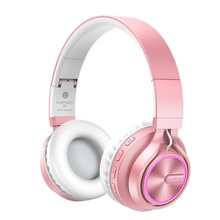 Rose Gold Wireless Headphones with Microphone Over Ear Stereo Headset Bass Big Earphone for PC Laptop Android Phone, for a Gift gift candy colored headphones headband earphone stereo music headset with microphone for pc phone