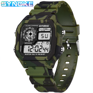 Часы наручные SYNOKE Мужские Цифровые, спортивные водонепроницаемые армейские светодиодсветодиодный электронные в стиле милитари, с будильником