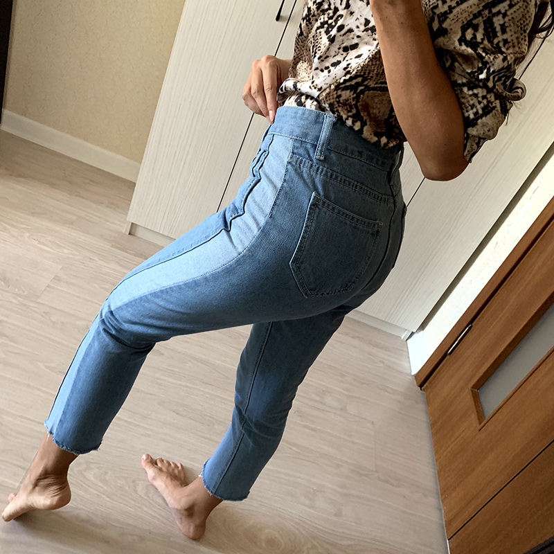 BIVIGAOS 19 New Spring Autumn Womens Cropped Jeans Korean Side Stitching Washed Denim Straight Pants Boyfriend Jeans For Women 12