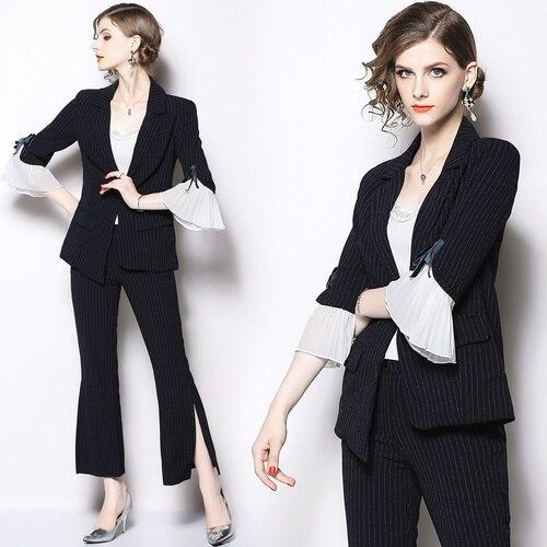 Black  2 Piece Office Set Women Pleated Luxury 2 Piece Set Women High Quality Two Piece Outfits Ensemble Femme Deux Pieces