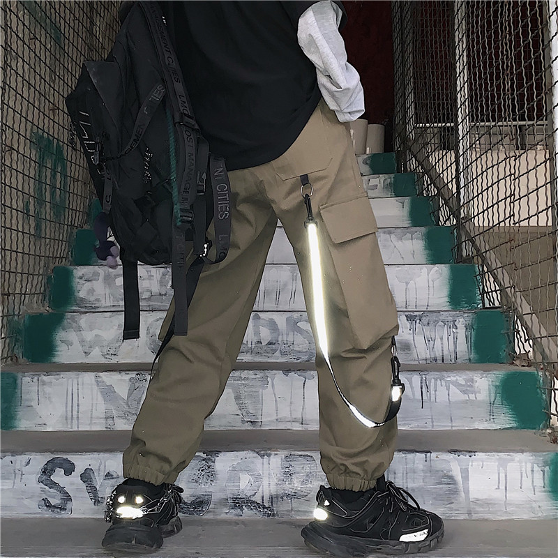 Focal20 Streetwear Hip Hop Solid Color Neon Tape Women Cargo Pants Large Pockets Loose Female Trousers Casual Autumn Lady Bottom