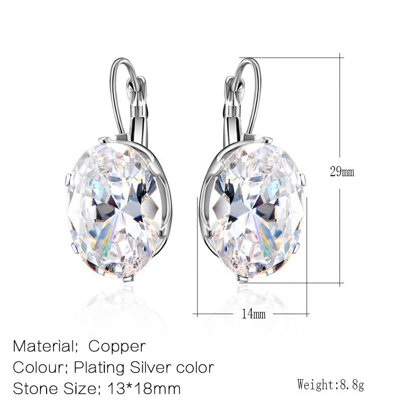 CARSINEL 5 farver Big Oval Zircon Hoop øreringe til kvindemode 13 * - Mode smykker - Foto 2