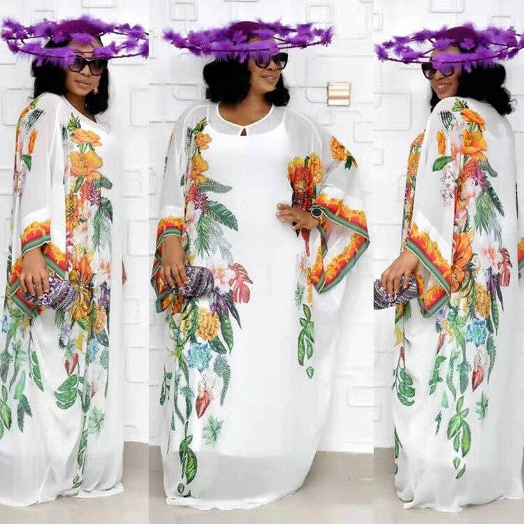 Elegant Print Chiffon Dashiki Dress Bat Sleeve African Bazin South Africa Muslim Abaya Maxi Robe Gowns Sexy Lady Party Djellaba