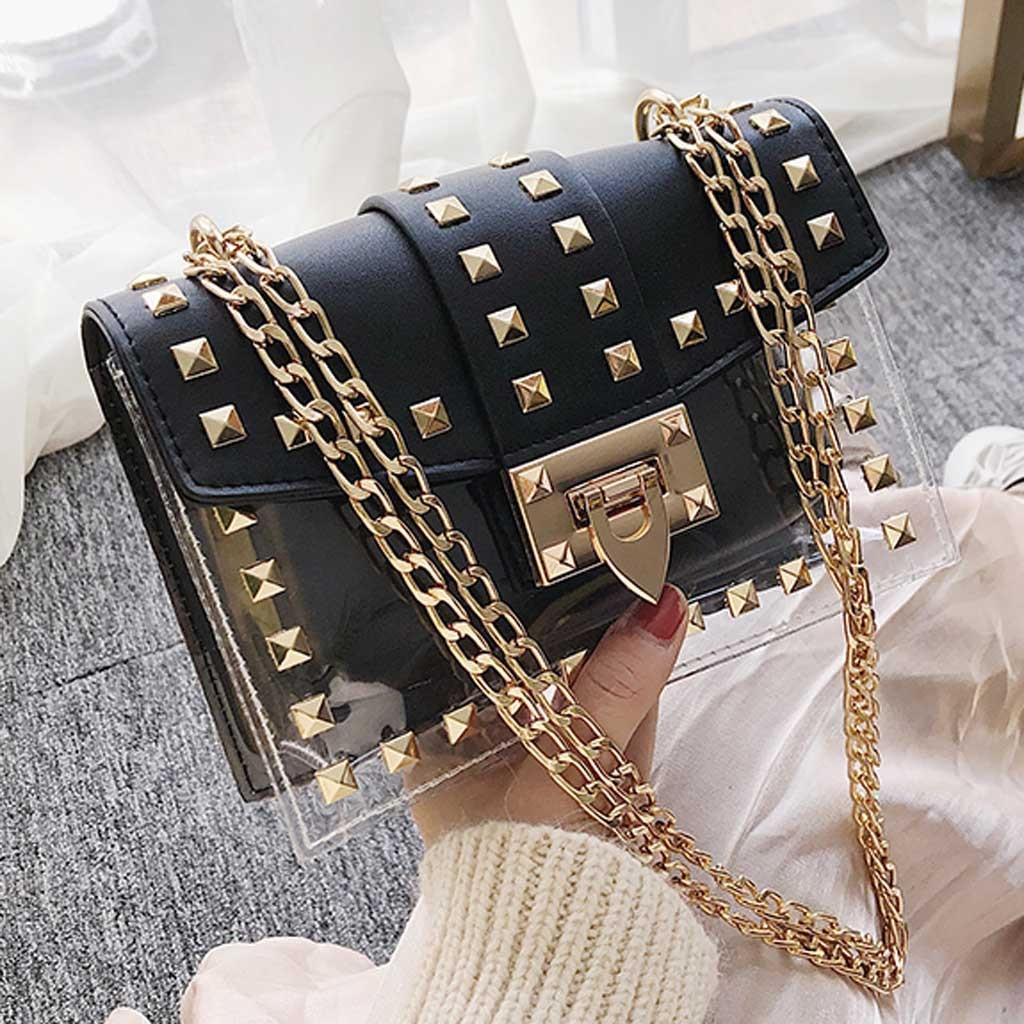 Women S Fashion Rivet Diagonal Package Transparent Shoulder Messenger Bags Chain Bag Designer Bag Bolsos Para Mujer Feminina 15 Pipi Luxury Lastest Fashion And Style