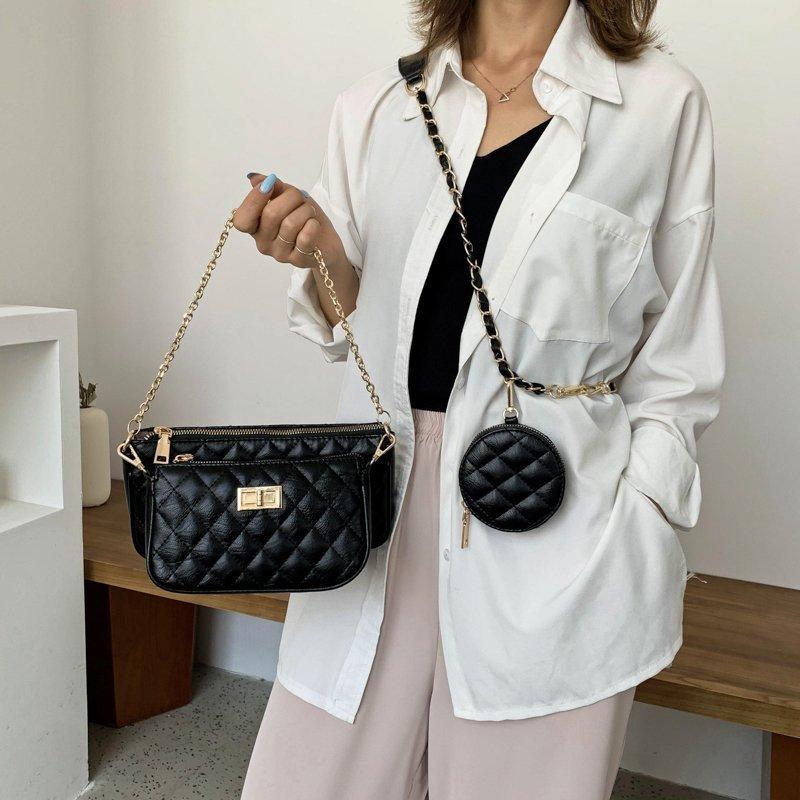 3 in 1 Luxury Female Bag Small Chain Diamond Bag Female Casual Messenger Shoulder Bag Retro Leather Messenger Portable Woman Bag