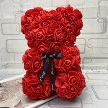 25 см высокий медведь розы День Святого Валентина Мишки Тедди 14 цветов праздник высокого класса DIY подарки Рождество Подарочное свадебное ук...