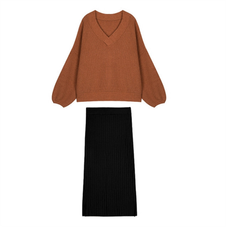 Image 5 - Hot Woman Autumn Knit Two Pieces Suit Solid Female Casual Sweater Pencil Skirt Sets Winter Warm Knitted Two Pieces Suits Woman-in Women's Sets from Women's Clothing