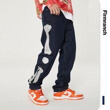 Skeleton Jeans Pants Firmranch Trousers Loose Retro-Washed American Straight Denim Men/women