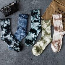 Bawełniane skarpetki Tie-farbowanie atramentu spocona elastyczność prążkowane zamknięcie oddychający Hip-styl hiphopowy Unisex odzież Unisex Streetwear skarpetki