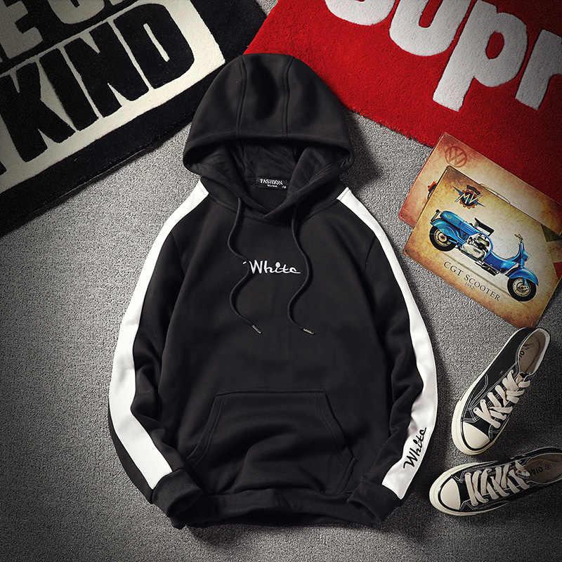 Hoodies Mannen Casual Hip Hop Wit Gedrukt Dikke Warme Fleece Hooded Sweater Mannen High Streetwear Suiker Schedel Mannen Sportkleding
