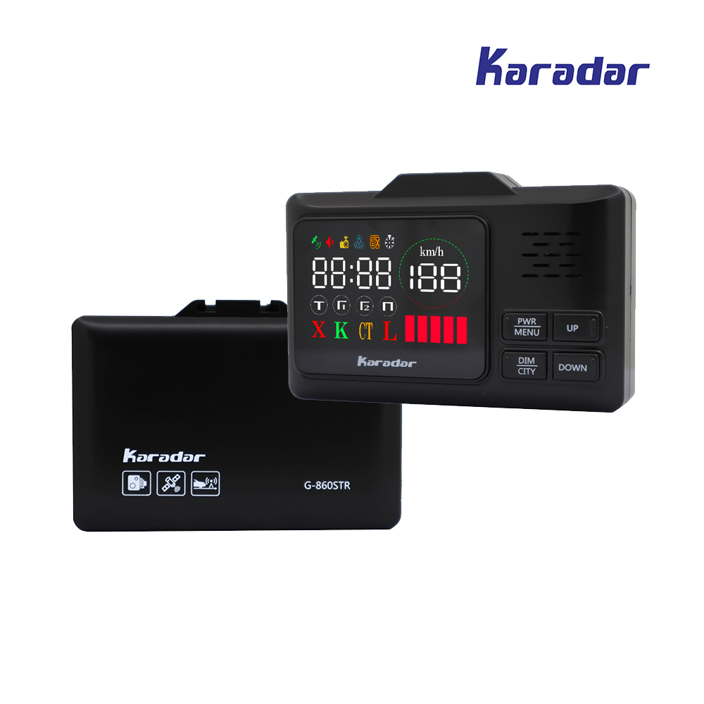 Karadar Car GPS anti radar detector 2 in 1 Police Speed GPS for Russian LED Display 360 Degree X K CT L with 2.4 inch display(China)