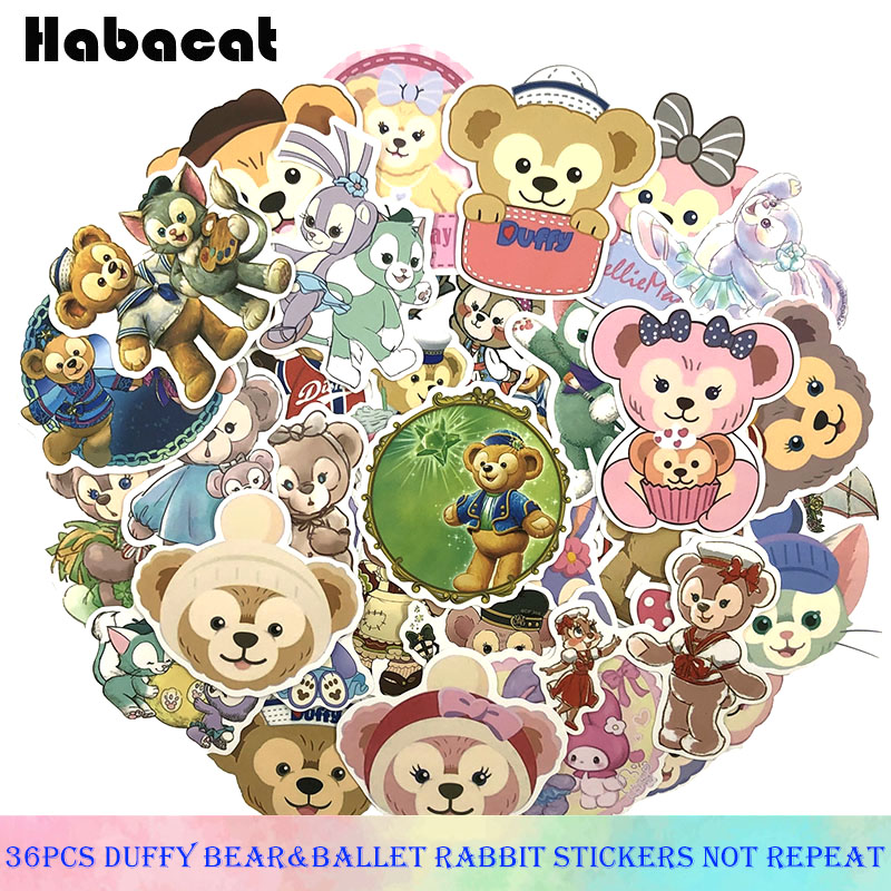 36 Pcs/Pack  Cartoon ShellieMay Bear Duffy Stickers For Motorcycle Luggage Laptop Phone Fridge Skateboard Car Toy Anime Stickers